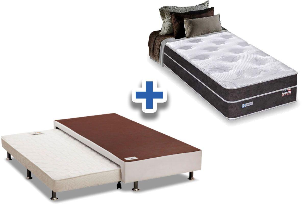 Conjunto 3 em 1 (Cama Box + Cama Auxiliar Courino Bianco Ortobom) +   (Colchão Sealy Pocket Phoenix Confort Euro)