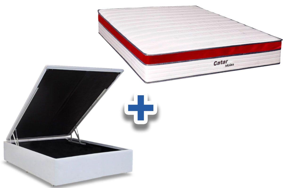 Conjunto Cama Box Baú - Colchão de Molas Spring Steel Catar Europilow  + Cama Baú Courino Branco