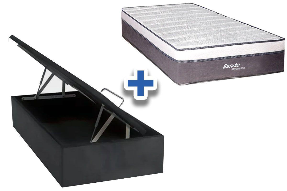 Conjunto Cama Box Baú - Colchão Magnético Infravermelho Salute + Cama Baú Nobuck Cinza