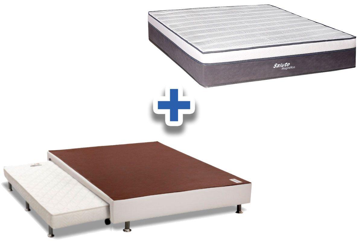 Conjunto 3 em 1 (Cama Box + Cama Auxiliar Courino Bianco Ortobom) + (Colchão Magnético Infravermelho Salute)