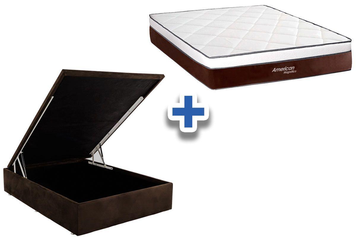 Conjunto Cama Box Baú - Colchão Magnético Infravermelho American + Cama Baú Nobuck Marrom
