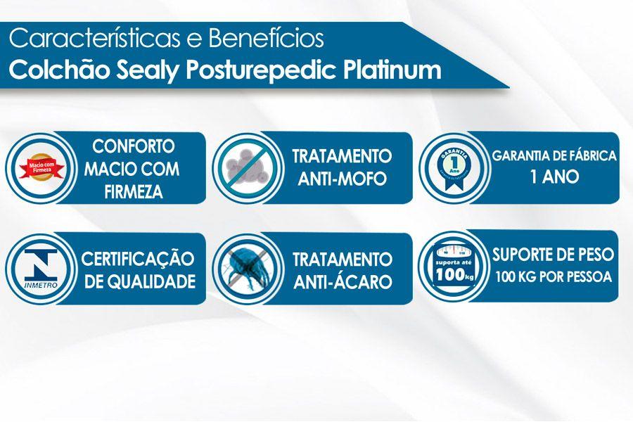 Conjunto Cama Box Baú - Colchão Sealy Posturepedic Platinum Correct Confort Euro Pillow + Cama Box Baú Café