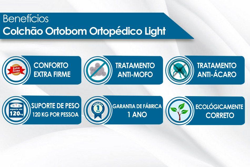 Conjunto Cama Box - Colchão Ortobom Ortopédico Light Orto Pillow + Cama Box Universal Nobuck Preta