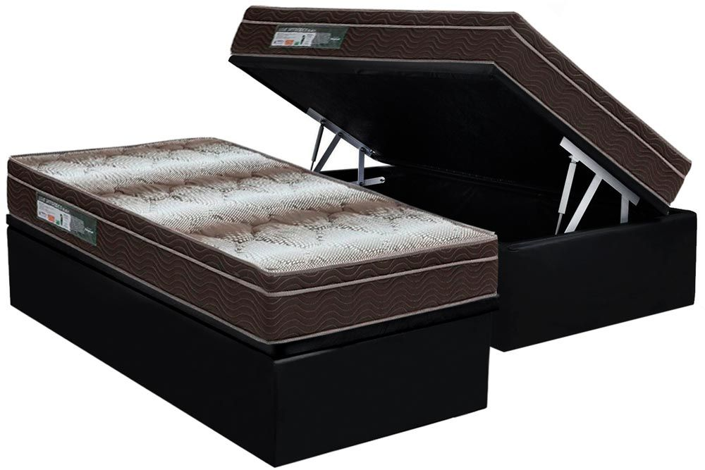 Conjunto Baú - Colchão Ortobom Ortopédico Light Orto Pillow + Cama Box Baú Universal CRC Camurça Black
