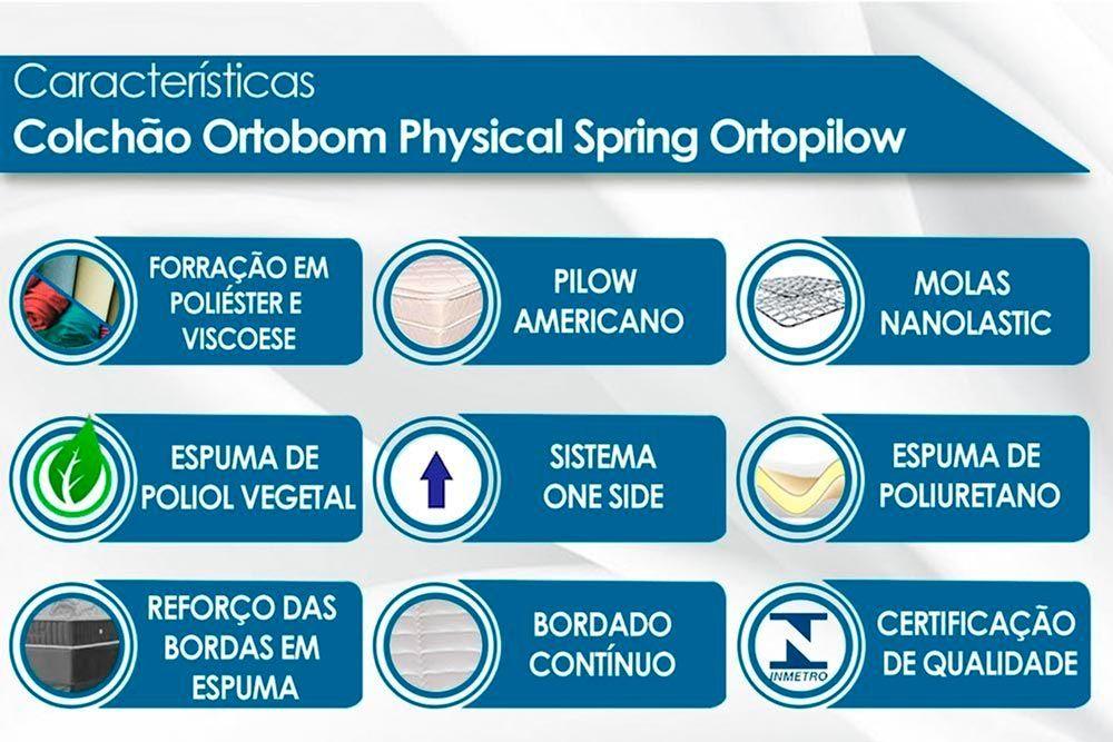 Conjunto Box - Colchão Ortobom Physical Spring Nanolastic Ortopilow + Cama Box Universal CRC Camurça Black