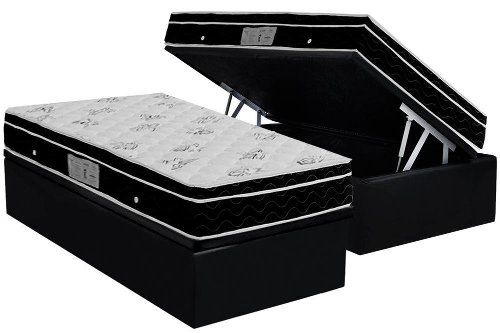 Conjunto Baú - Colchão Ortobom Physical Spring Nanolastic Ortopilow + Cama Box Baú Universal CRC Camurça Black