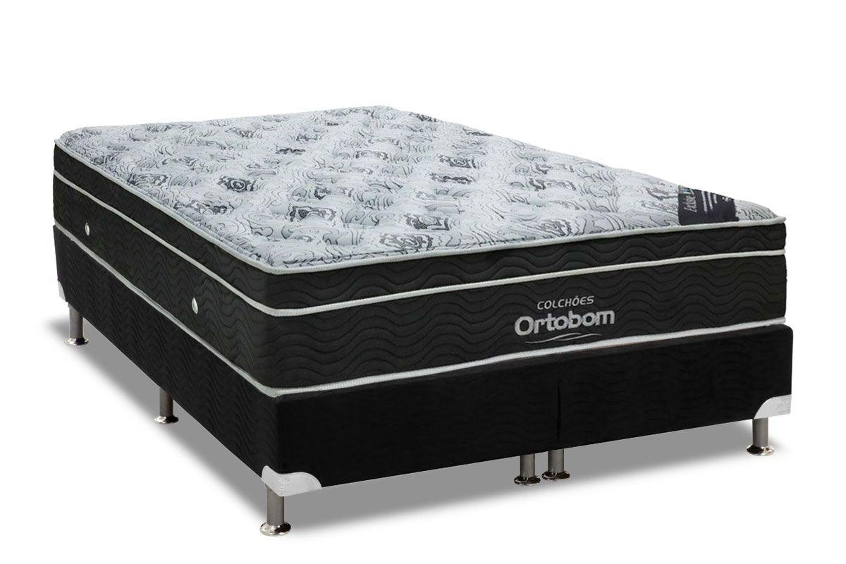 Conjunto Cama Box - Colchão Ortobom Molas Nanolastic Exclusive + Cama Box Universal Nobuck Preta