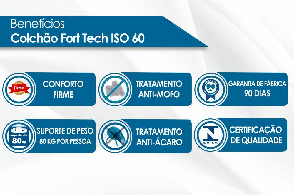 Conjunto Cama Box Baú - Colchão Ortobom Ortopédico Fort Tech ISO 60 Super Firme 28cm+ Cama Box Baú Courino Branco