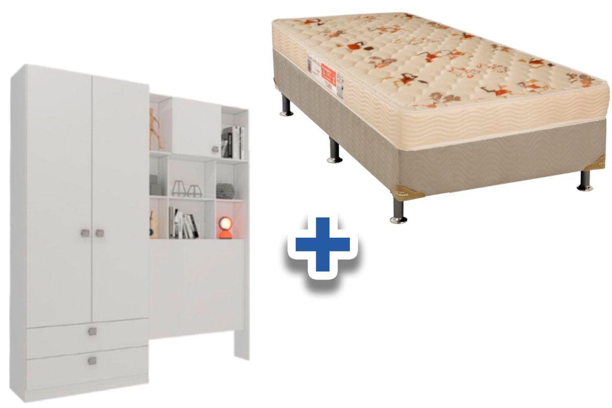 Conjunto Cama Box Orthoflex D33 Comfortpedic Line (INMETRO) Bege + Guarda Roupa Solteiro Cimol Nina