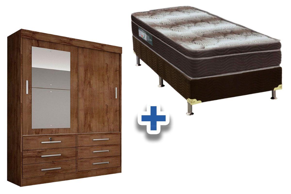 Guarda Roupa Novo Horizonte Sonare 2 Portas e 6 Gavetas c/Espelho + Cama Box Ortobom Ortopédico Light Café