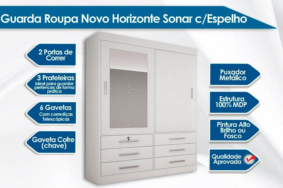 Guarda Roupa Novo Horizonte Sonare 2 Portas e 6 Gavetas c/Espelho + Cama Box Universal CRC + Colchão Orthoflex D33 Comfortpedic Bege