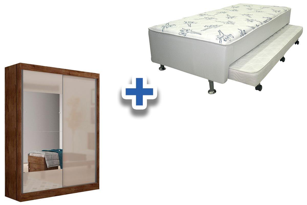 Guarda Roupa Novo Horizonte Falco 2 Portas e 2 Gavetas c/Espelho + Cama Box Ortobom Ortopédico Couríno Bianco c/ Auxiliar