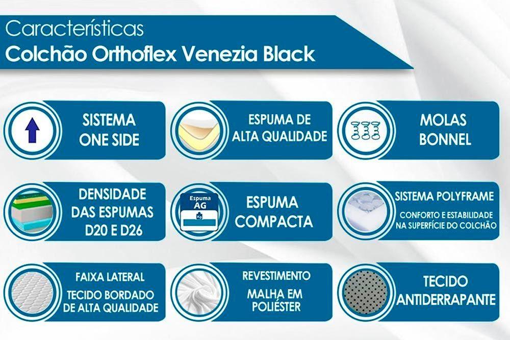 Guarda Roupa Novo Horizonte Falco 2 Portas e 2 Gavetas c/Espelho + Cama Box Universal CRC + Colchão Orthoflex Molas Bonnel Venezia Black