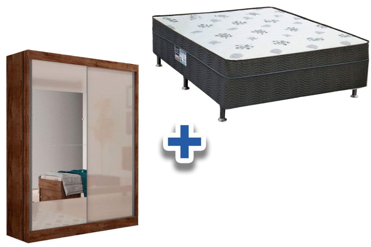 Guarda Roupa Novo Horizonte Falco 2 Portas e 2 Gavetas c/Espelho + Cama Box Ortobom Molas Molas Nanolastic Union