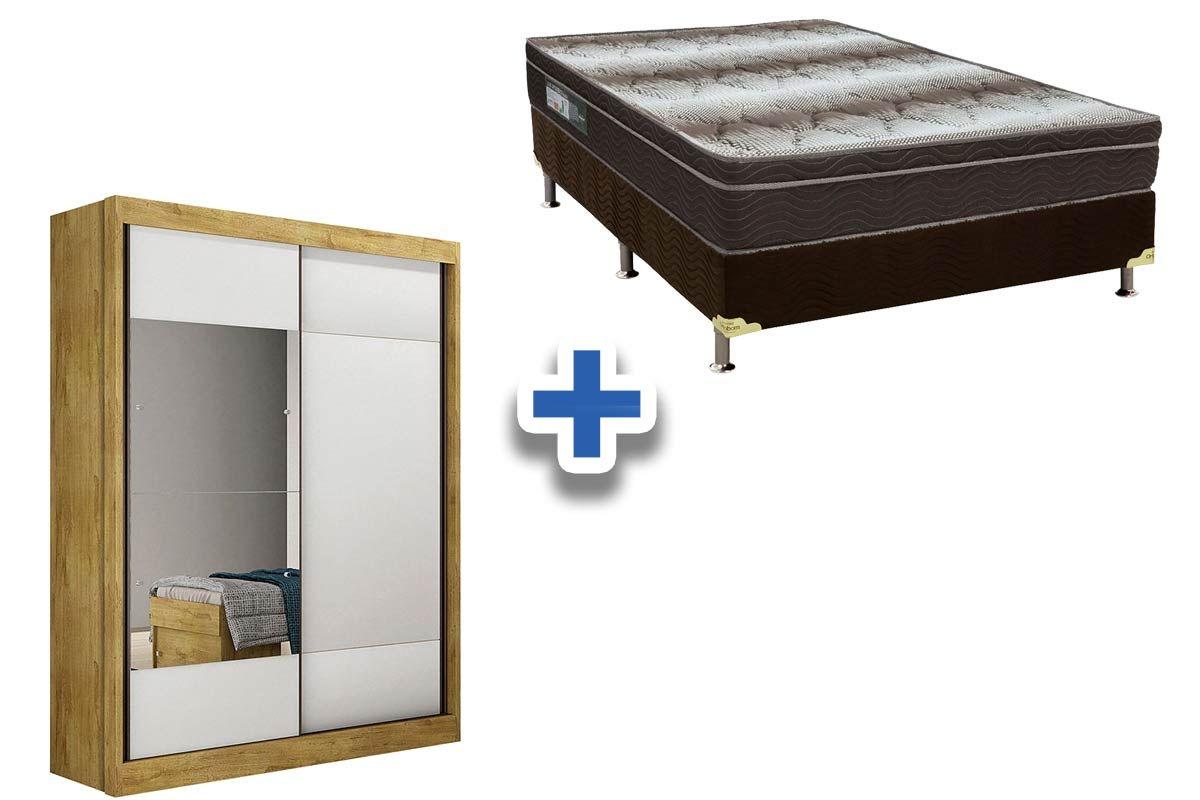 Guarda Roupa Novo Horizonte Falco 2 Portas e 2 Gavetas c/Espelho + Cama Box Ortobom Ortopédico Light