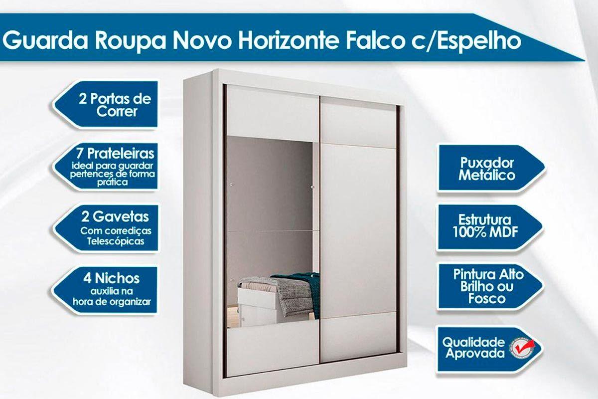 Guarda Roupa Novo Horizonte Falco 2 Portas e 2 Gavetas c/Espelho + Cama Box Unversal CRC + Colchão  Ortobom Ortopédico Light