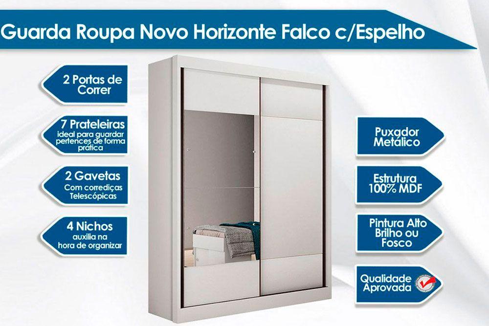 Guarda Roupa Novo Horizonte Falco 2 Ptas e 2 Gav c/Espelho + Cama Box Universal CRC + Colchão Ortobom Nanolastic Physical Spring