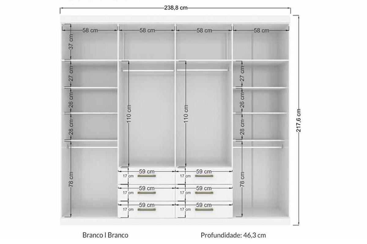 Guarda Roupa Santos Andirá Havana Master 8.6 c/ 8 Portas e 6 Gavetas + Cama Box Ortobom Espuma D45 Mega Firme 18cm