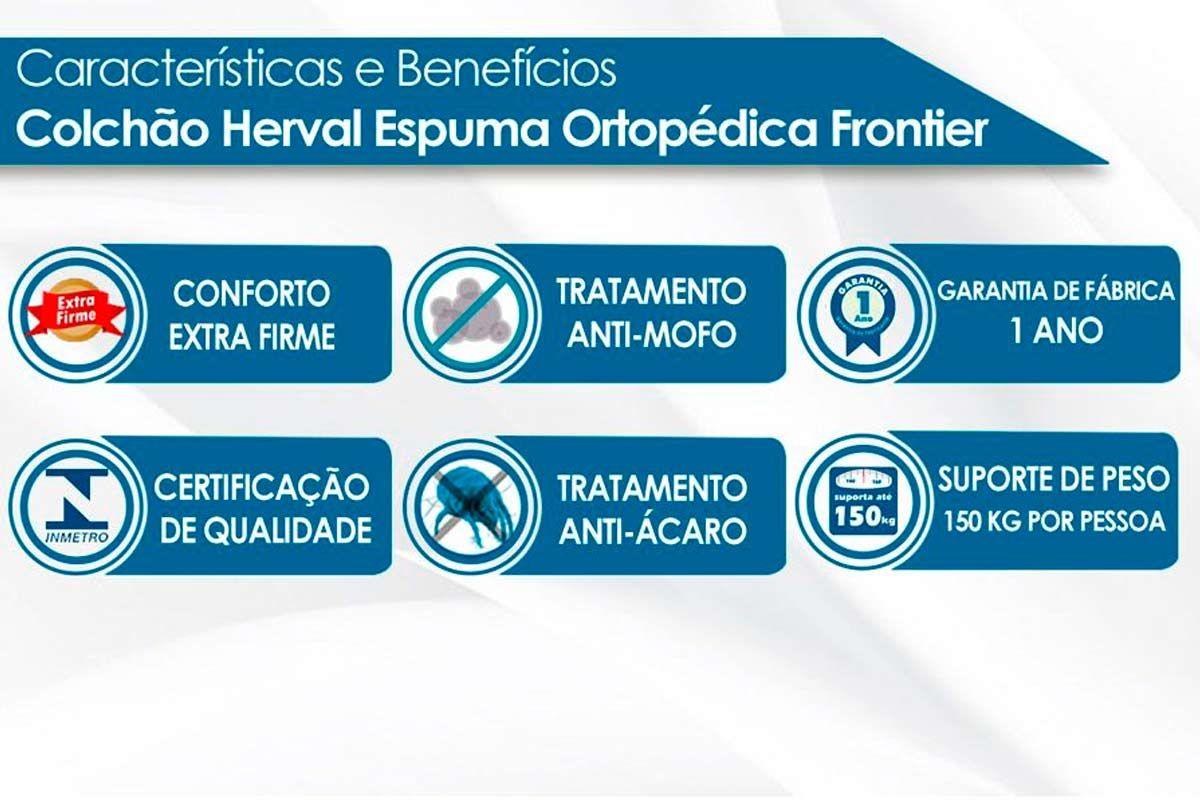 Guarda Roupa Santos Andirá Havana Master 8.6 c/ 8 Portas e 6 Gavetas + Cama Box Universal CRC + Colchão Herval Espuma Ortopédica Firme Frontier