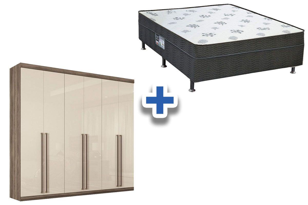 Guarda Roupa Santos Andirá Imaginare c/ 6 Portas e 4 Gavetas + Cama Box Ortobom Nanolastic Union