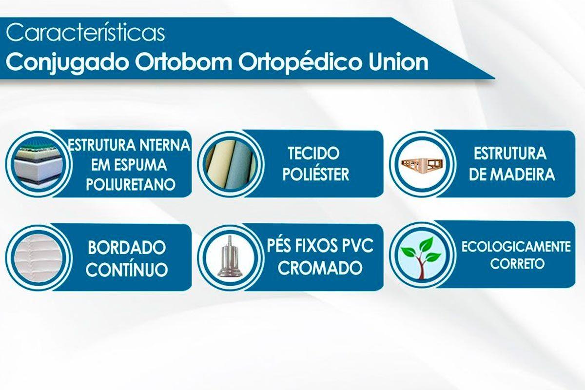 Cabeceira Solteiro Santos Andirá Invicta + Cama Box Ortobom Ortopédica Union