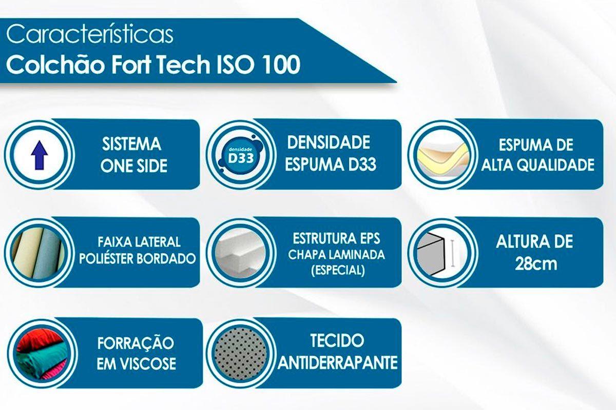 Cabeceira Solteiro Santos Andirá Invicta + Cama Box Ortobom D33 Ultra Firme 18cm