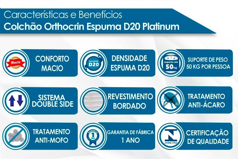 Cabeceira Solteiro Santos Andirá Invicta + Cama Box Orthocrin D20 Platinum Pró Saúde Duplo 12cm