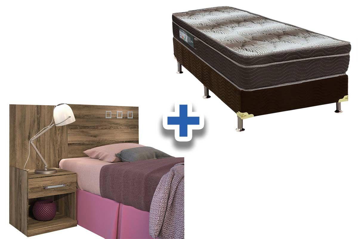 Cabeceira Box Solteiro Santos Andirá Havana Plus c/ Criado + Cama Box Ortobom Ortopédica Light OrtoPillow