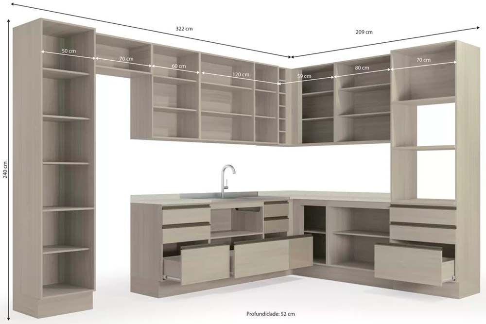 Cozinha Completa Kappesberg Maxxi c/ 14 Peças (2 Paneleiros + 4 Balcões + 5 Aéreos + 3 Tampos)