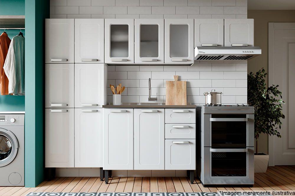 Cozinha Completa Bertolini Múltipla 4 Peças (1 Paneleiro + 2 Aéreos + 1 Gabinete c/ Pia)  Kit CZ163