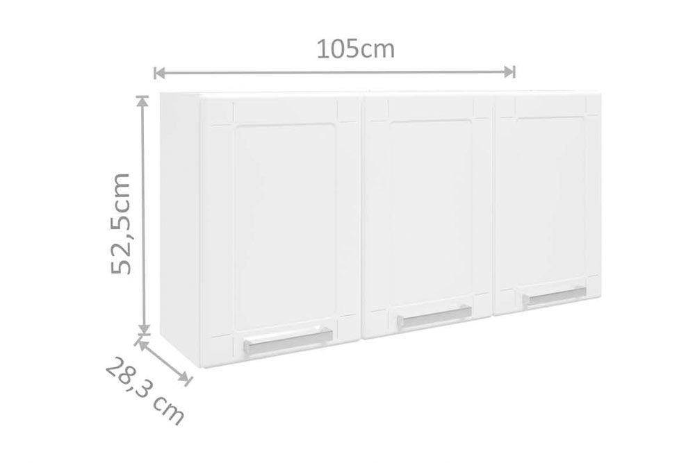 Cozinha Completa Bertolini Múltipla 4 Peças (1 Paneleiro c/ Vidro + 2 Aéreos + 1 Gabinete c/ Tampo) Kit CZ164