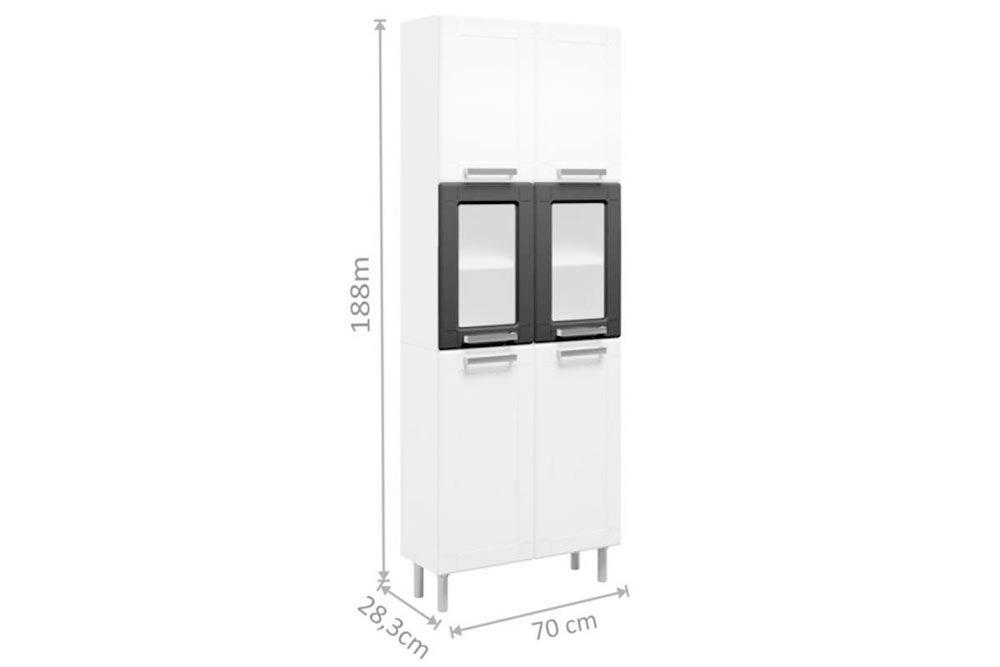 Cozinha Completa Bertolini Múltipla 4 Peças (1 Paneleiro c/ Vidro + 2 Aéreos (1 c/ Vidro) + 1 Gabinete c/ Tampo) Kit CZ166