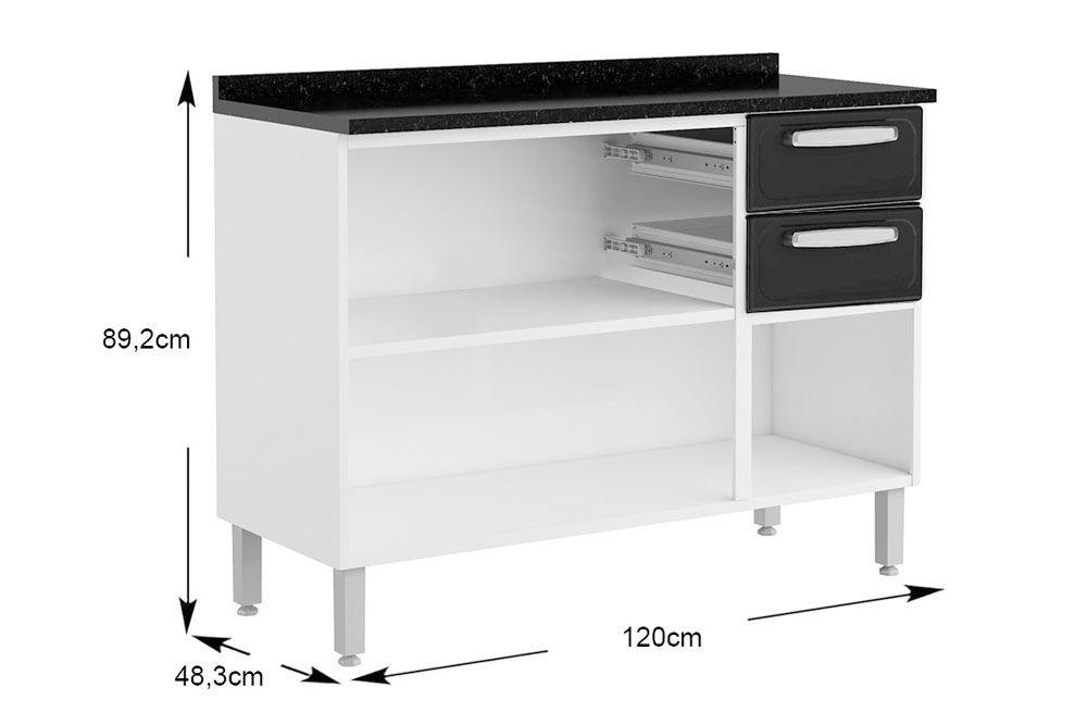 Cozinha Completa Bertolini Evidence 4 Peças (1 Paneleiro c/ Vidro + 2 Aéreos (1 c/ Vidro) + 1 Gabinete c/ Tampo) Kit CZ168