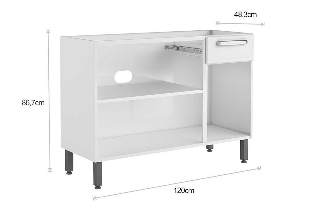 Cozinha Completa Bertolini Evidence 4 Peças (1 Paneleiro + 2 Aéreos (1 c/ Vidro) + 1 Gabinete c/ Tampo) Kit CZ169