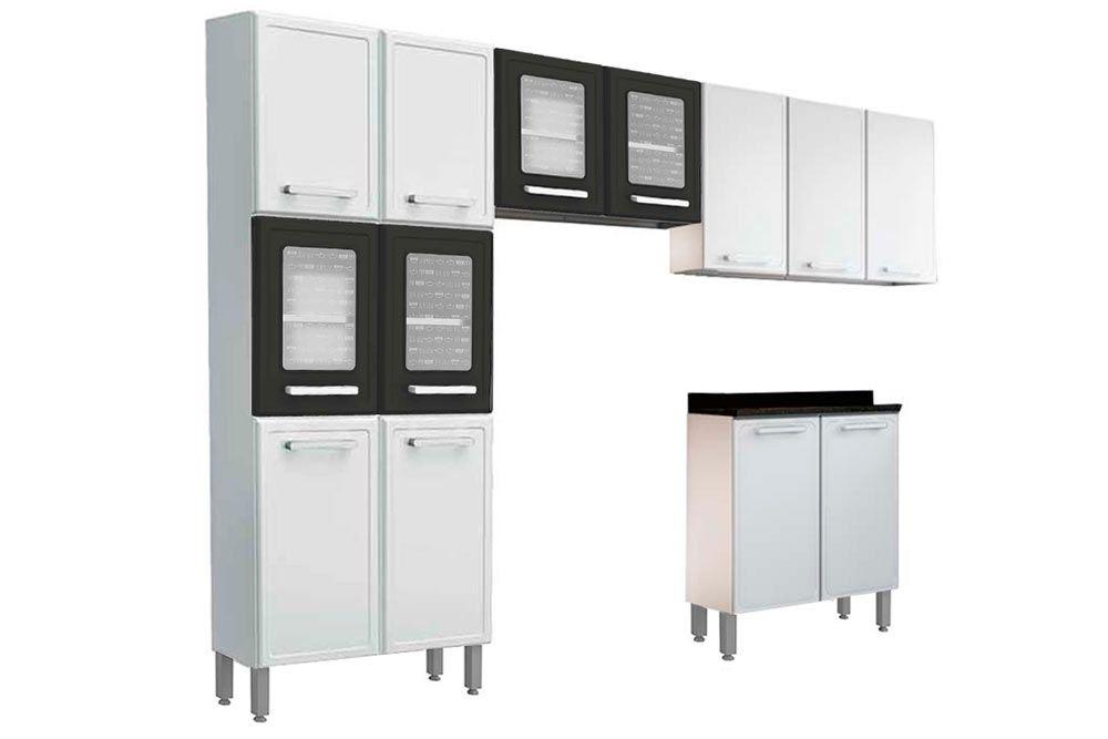 Cozinha Completa Bertolini Gourmet 4 Peças (1 Paneleiro + 2 Aéreos (1 c/ Vidro ) + 1 Gabinete c/ Tampo)  Kit CZ172