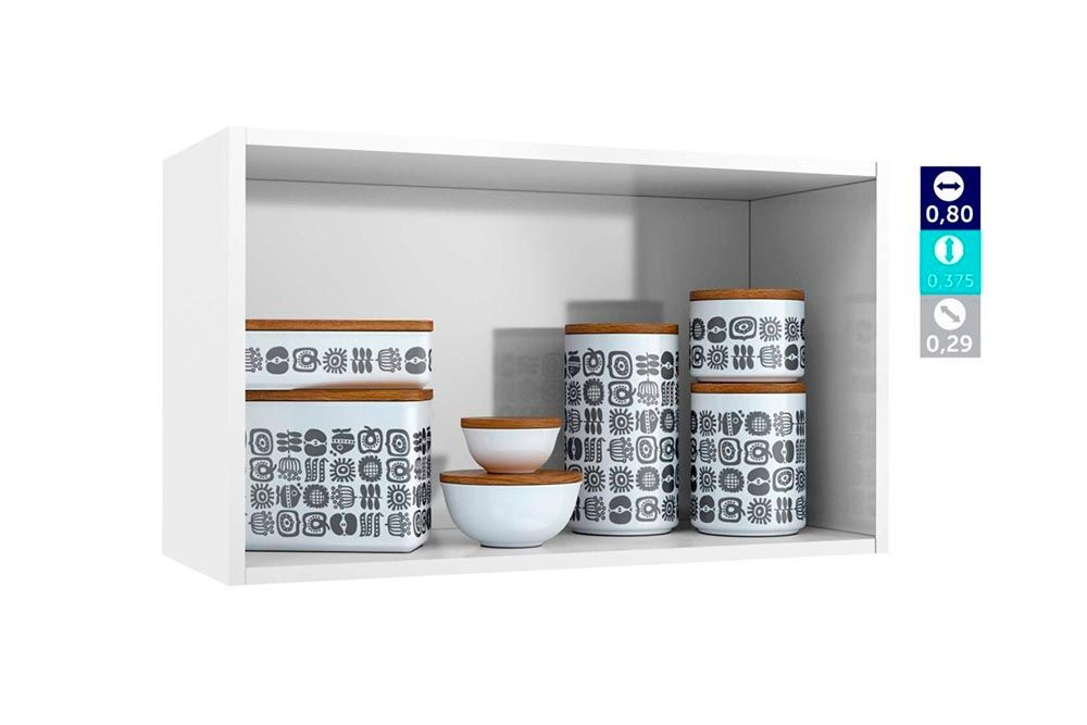 Cozinha Completa Telasul Pérola Aço c/ 4 Peças (1 Paneleiro (2 pts c/ Vidro) + 1 Gabinete + 1 Aéreo Triplo c/ Vidro + 1 Aéreo Duplo)