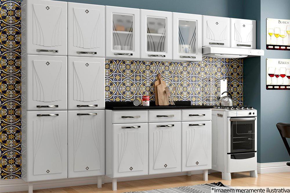 Cozinha Completa Telasul Star Aço c/ 4 Peças (1 Paneleiro + 1 Gabinete c/ Tampo + 2 Aéreos) COZ220