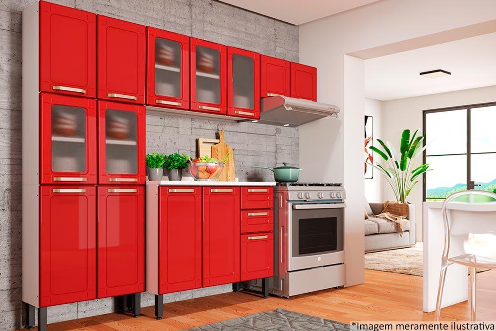 Cozinha Completa Bertolini Colors 4 Peças (1 Paneleiro + 2 Aéreos + 1 Gabinete) Kit CZ177