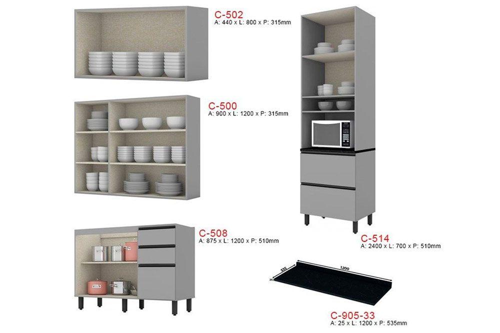 Cozinha Completa Henn Belize c/ 5 Peças (1 Torre Quente + 2 Aéreos + 1 Balcão + 1 Tampo) CZ139