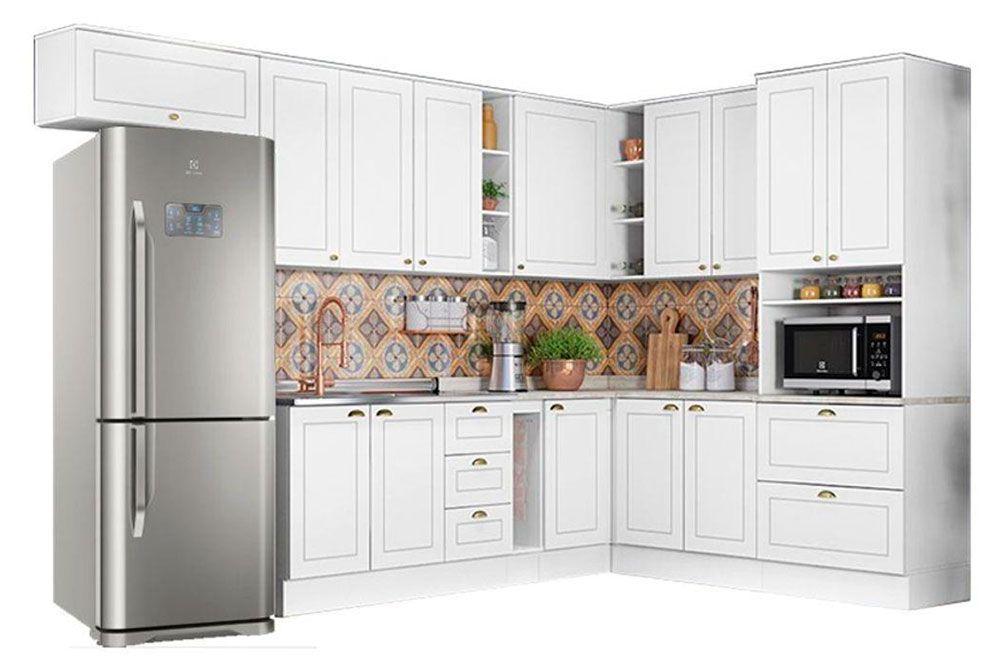Cozinha Completa Henn Americana c/ 14 Peças (1 Torre Quente + 5 Aéreos + 4 Balcões + 4 Tampos) CZ144
