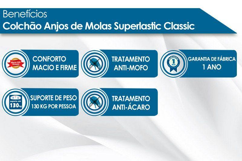 Conjunto Cama Box - Colchão Anjos de Molas Superlastic Classic 22cm + Cama Box Baú Universal CRC Courino Black