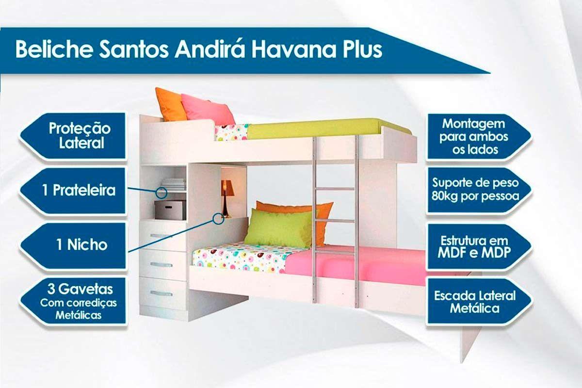 Beliche Santos Andirá Havana Plus c/ 3 gavetas + 2 Colchões Ortobom