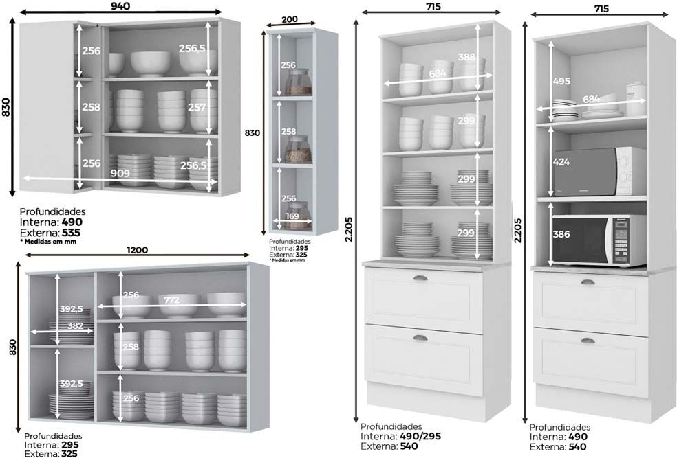 Cozinha Completa Henn Americana c/ 14 Peças (1 Torre Quente + 1 Cristaleira +  4 Aéreos + 3 Balcões + 1 Porta Toalha + 4 Tampos) CZ162