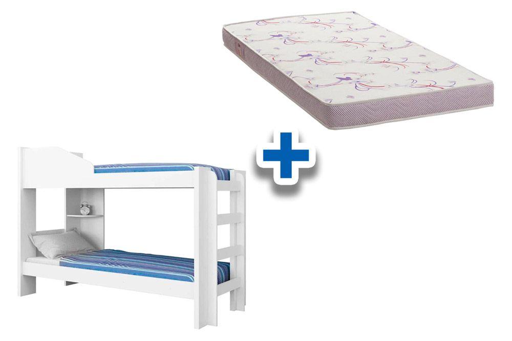 Beliche Conquista Indy (Grade Proteção+Escadas+Prateleira) + 2 Colchões Ortobom