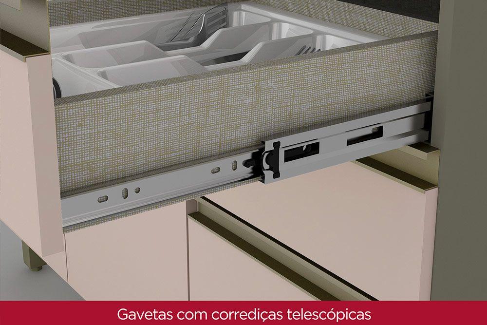 Cozinha Completa Henn Connect c/ 23 Peças (1 Torre Quente + 5 Aéreos + 4 Balcões + 1 Porta Toalha + 5 Tampos + 5 Rodapés + 2 Kit Acessorio Rodapé) CZ167