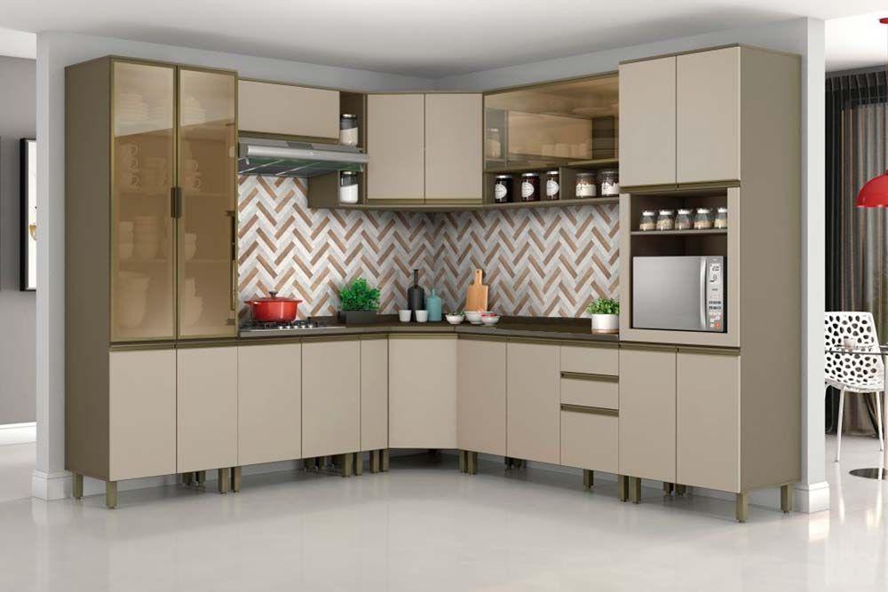 Cozinha Completa Henn Connect c/ 14 Peças (1 Torre Quente + 1 Cristaleira +  4 Aéreos + 4 Balcões + 4 Tampos) CZ169