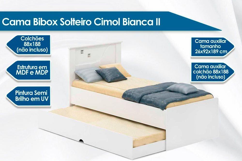 Cama Bibox Cimol Bianca II (Cama+Auxiliar) + 2 Colchões Ortobom