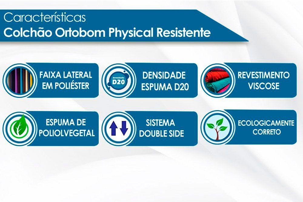 Beliche Cimol Bia + 2 Colchões Ortobom Physical Resistente Liso