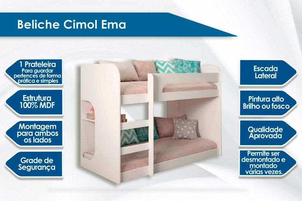 Beliche Cimol Ema + 2 Colchões Ortobom Physical Resistente Liso