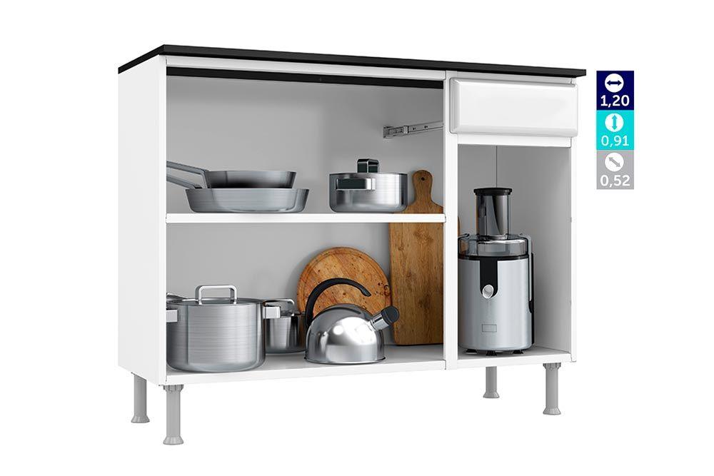 Cozinha Completa Telasul Pérola Aço c/ 4 Peças (1 Paneleiro + 1 Gabinete + 1 Aéreo Triplo c/ Vidro + 1 Aéreo duplo)